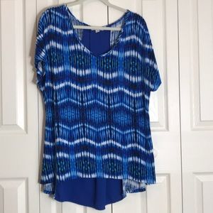 Dress Barn Hi-Low blue tie dye tunic SZ 2X